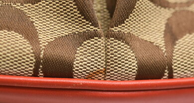 【バッグ】COACHコーチシグネチャーショルダーバッグ斜め掛けショルダーキャンバスレザーカーキベージュコーラルオレンジ6849【中古】【k】【Blumin楽天市場店】