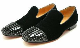 【靴】Christian Louboutin クリスチャン ルブタン ローファー 靴 ベロア ラバー 黒 ブラック メンズ サイズ40 【中古】【k】