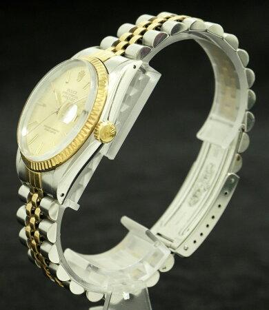 【中古】【ウォッチ】【OH済】ROLEXロレックスデイトジャストゴールド文字盤デイトSS/YG9番メンズ腕時計16013【k】【Blumin楽天市場店】