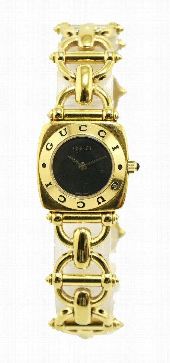 【ウォッチ】GUCCI グッチ ブラック文字盤 GP ゴールドカラー レディース QZ クォーツ 腕時計 6400L 【中古】【k】【Blumin 楽天市場店】