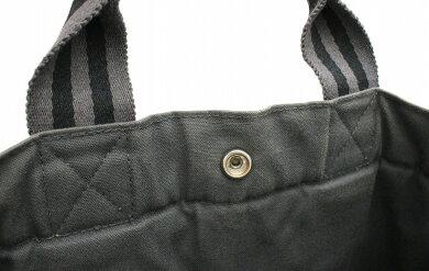 【バッグ】HERMESエルメスフールトゥトートMMトートバッグキャンバスグレー黒ブラック【中古】【k】【Blumin楽天市場店】