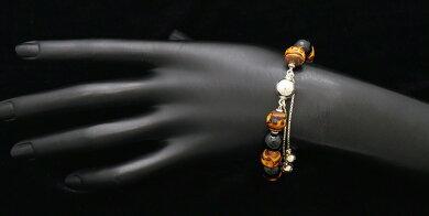 【ジュエリー】GUCCIグッチバンブーオニキスブレスレットSV925シルバー#16【中古】【k】