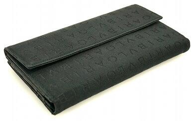 【財布】BVLGARIブルガリレッタレロゴマニアWホックダブルホック3つ折長財布キャンバスレザー黒ブラック【中古】【k】