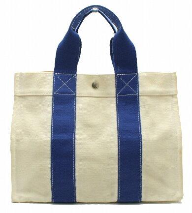 【バッグ】HERMESエルメスボラボラPMボラボラトートPMトートバッグハンドバッグボラボラキャンバス白ホワイトブルー青【中古】【k】