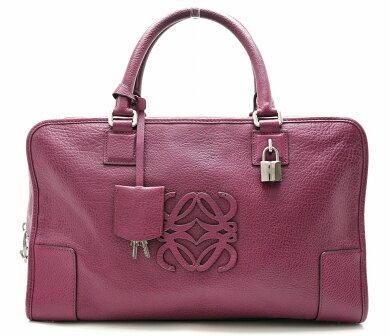 【バッグ】LOEWEロエベアマソナ36レザーハンドバッグミニボストン紫パープル339.95.A22【中古】【k】