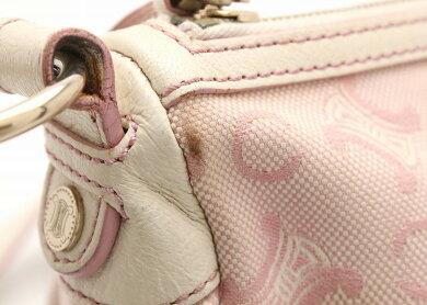 【バッグ】CELINEセリーヌマカダム柄ショルダーバッグ斜め掛けキャンバスレザーピンクオフホワイト【中古】【k】