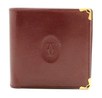 【財布】Cartierカルティエマストライン2つ折財布レザーカーフボルドーゴールド金具メンズ紳士用【中古】【k】