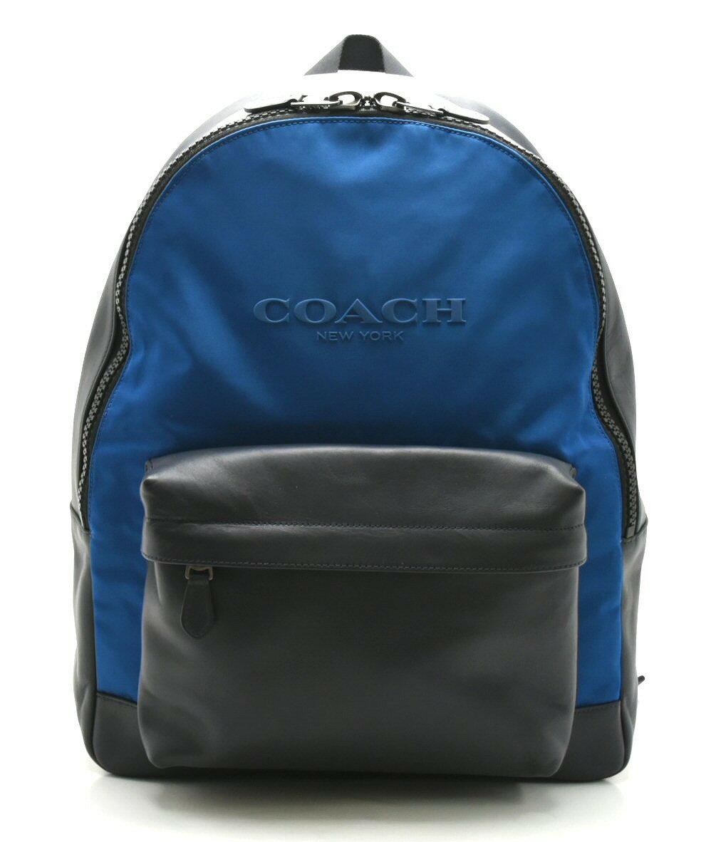 【新品未使用品】【バッグ】COACH コーチ リュック リュックサック バックパック ショルダーバッグ レザー ブラック 青 ブルー メンズ F59321【u】