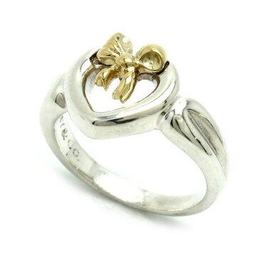【ジュエリー】【新品仕上げ済】TIFFANY&Co.ティファニーリボンハートモチーフリング指輪SV925シルバーK18イエローゴールド9号#9【中古】【k】