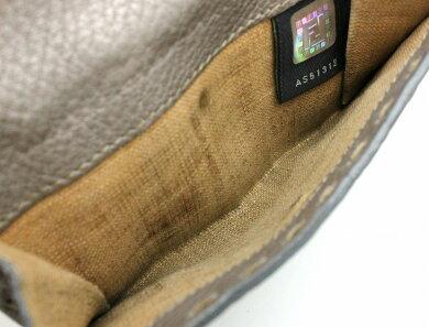 【財布】FENDIフェンディセレリア2つ折財布ダブルホックレザーグレー灰色シルバー金具8M0206【中古】【k】