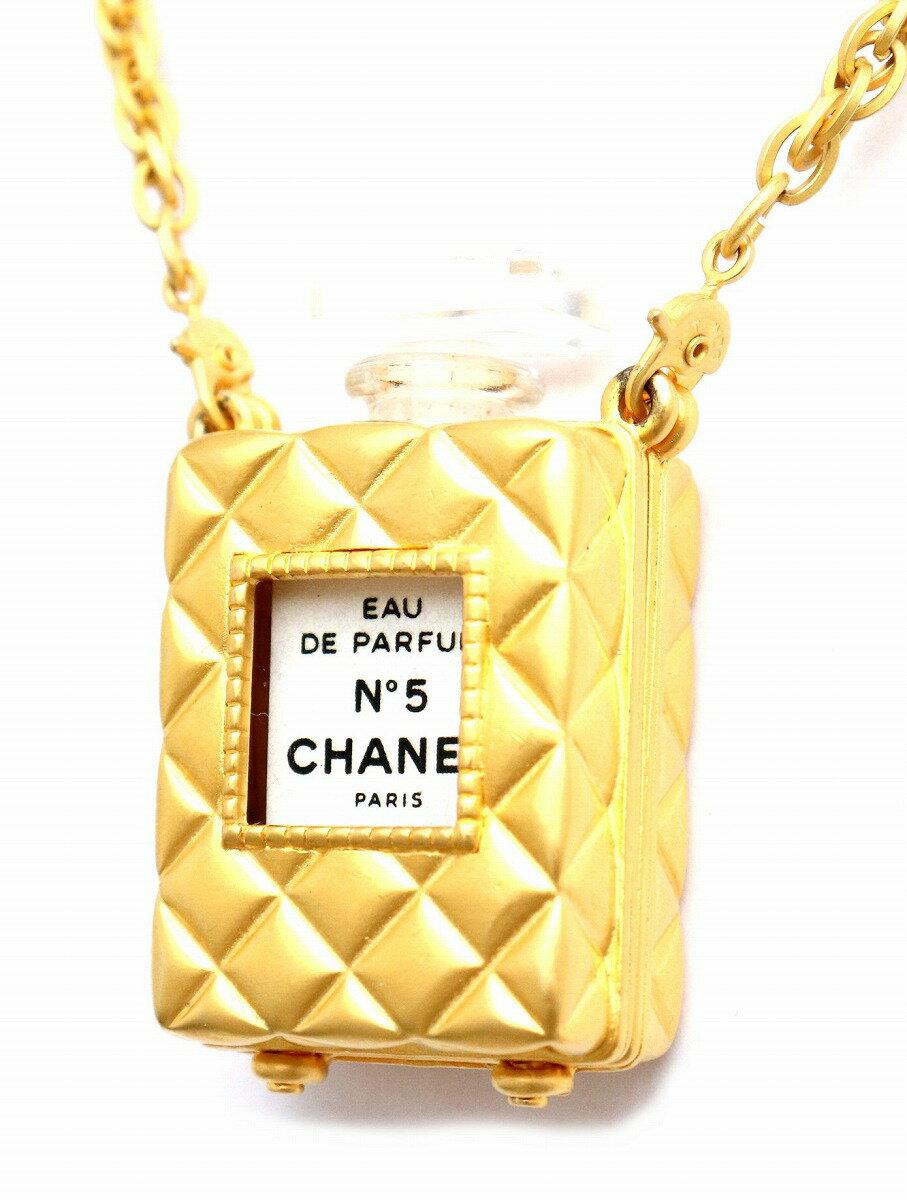 【ジュエリー】CHANEL シャネル NO.5 ナンバー5 香水付 ミニボトル ネックレス ペンダント ゴールド金具 パフューム 【中古】【u】
