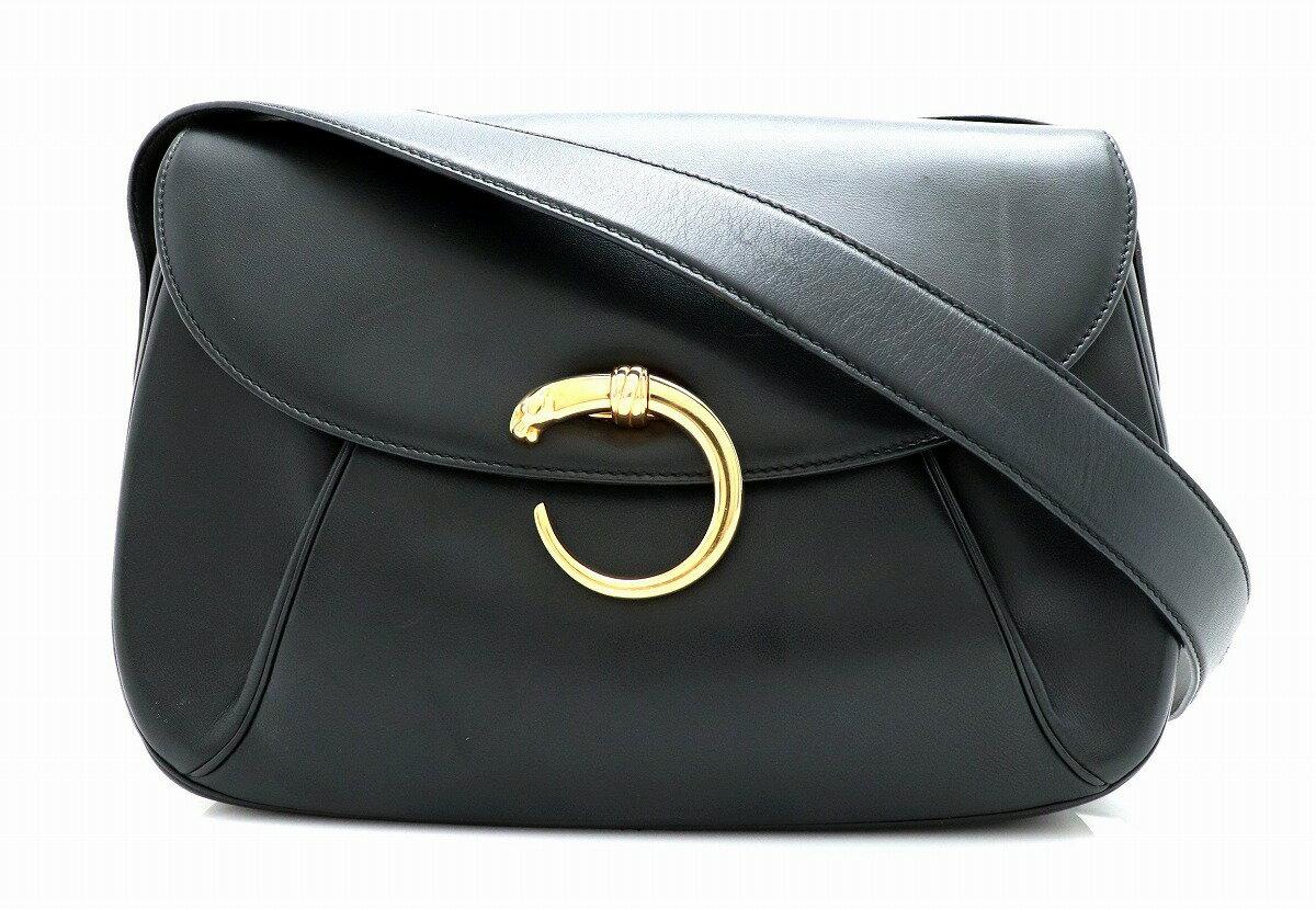 【バッグ】Cartier カルティエ パンテール ショルダーバッグ ハンドバッグ カーフレザー ブラック 黒 ゴールド金具 【中古】【k】