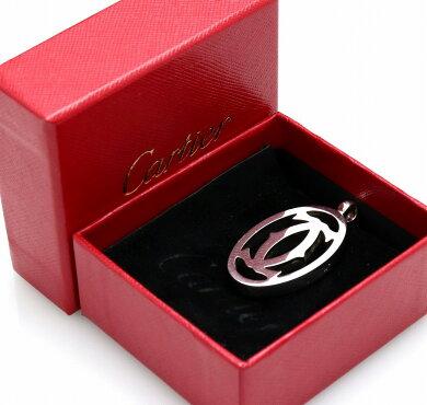 Cartierカルティエデコール2Cチャーム2Cモチーフキーホルダーキーリングチェーンシルバーカラー【中古】【k】