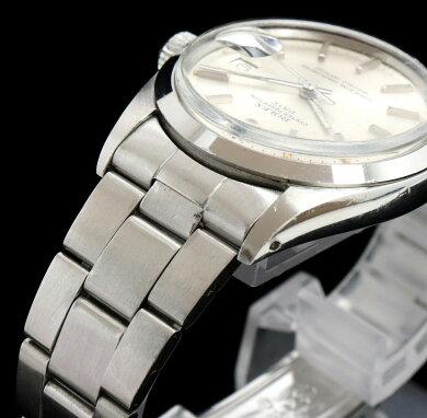 【ウォッチ】ROLEXロレックスオイスターパーペチュアルデイトシルバーダイアルアンティークSSメンズATオートマ腕時計2番1500【中古】【k】