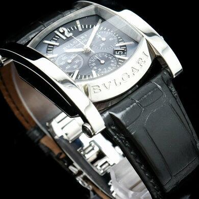 【ウォッチ】BVLGARIブルガリアショーマクロノグラフデイトブラックSSメンズATオートマ腕時計AA44SCH【中古】【k】