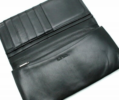 【財布】PaulSmithポールスミスポールスミス長財布レザーブラック黒マルチカラーストライプ【中古】【k】
