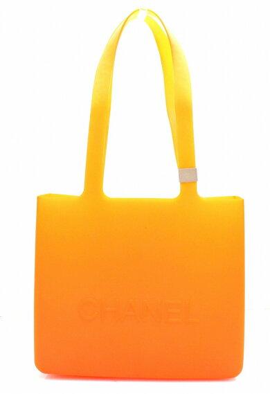 【バッグ】CHANELシャネルラバーロゴトートバッグショルダーバッグショルダートートオレンジ【中古】【k】
