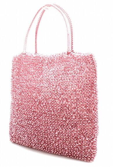 【バッグ】ANTEPRIMAアンテプリマワイヤーバッグハンドバッグトートバッグピンクシルバー金具【中古】【k】