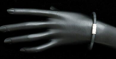 【ジュエリー】LOUISVUITTONルイヴィトンダミエグラフィットブラスレキープイットバングルブレスレットシルバー金具M6609E【中古】【k】