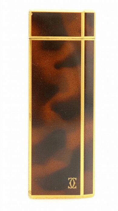 Cartierカルティエオーバルライターゴールドフィニッシュブラックラッカーライターガスライター漆ブラウンゴールド【中古】【k】