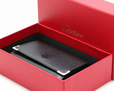 Cartierカルティエカボションマストドゥカルティエ6連キーケース黒ブラックボルドーシルバー金具キーリング付L3000579【中古】【k】