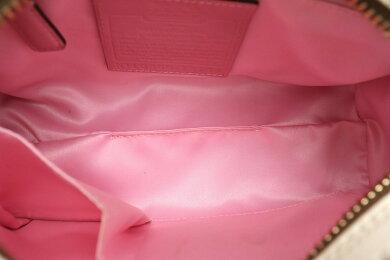 【バッグ】COACHコーチヘリテージストライプスモールドームサッチェルハンドバッグミニボストンPVCレザーベージュオフホワイト白ピンク13194【中古】【k】