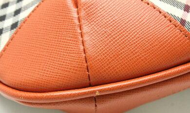 【バッグ】BURBERRYバーバリーノバチェックチェック柄ポーチ小物入れミニハンドバッグコスメポーチレザーベージュオレンジ【中古】【k】