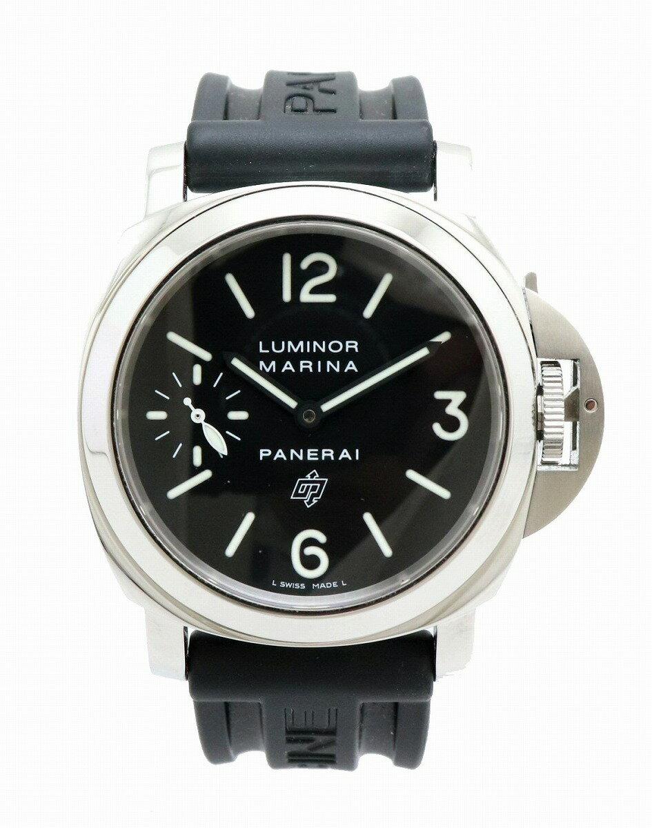 【ウォッチ】PANERAI パネライ ルミノール マリーナ ロゴ SS 革ベルト メンズ 手巻き 腕時計 PAM00005 OP6729 【中古】【u】