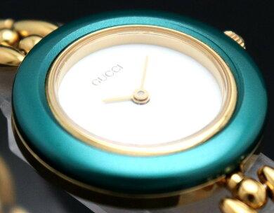 【ウォッチ】GUCCIグッチチェンジベゼルホワイト文字盤GPゴールドメッキレディースQZクォーツ腕時計11/12.2【中古】【k】
