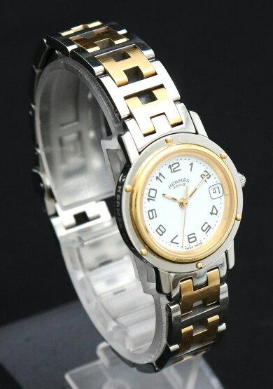 【ウォッチ】HERMESエルメスクリッパーデイトホワイト文字盤SSGPコンビレディースQZクォーツ腕時計CL4.220【中古】【k】