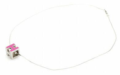 【ジュエリー】HERMESエルメスカージュドアッシュHキューブHロゴネックレスチョーカーシルバー色紫パープル【中古】【k】