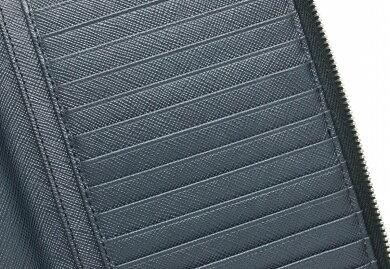 【財布】PRADAプラダラウンドファスナー長財布トラベルケースパスポート型押しレザーネイビー青ブルー2M1220【中古】【k】