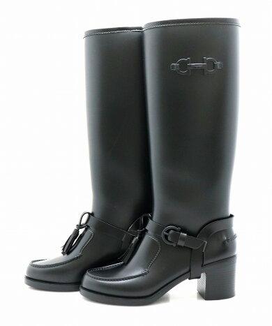 【靴】SalvatoreFerragamoサルヴァトーレフェラガモガンチーニラバーレインブーツ黒ブラック#6日本サイズ約23.0cm【中古】【k】