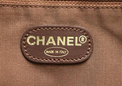 【バッグ】CHANELシャネルロゴショルダーバッグ斜め掛けメタリックレザーブロンズゴールド【中古】【k】