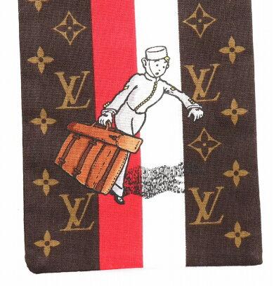 【アパレル】LOUISVUITTONルイヴィトンバンドーグルームモノグラムベルボーイスカーフコットン100ブラウン茶ホワイト白レッド赤M72128【中古】【k】