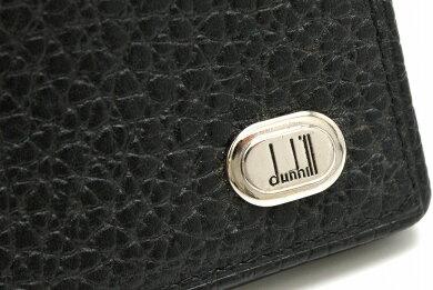 dunhillダンヒルオックスフォードカードケース名刺入れロゴプレートレザー黒ブラック【中古】【k】