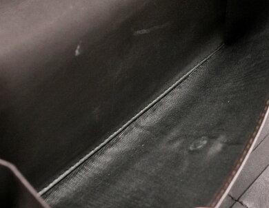 【財布】GUCCIグッチGGキャンバス3つ折長財布レザー茶ダークブラウンカーキベージュアウトレット品257303【中古】【k】
