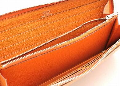 【財布】HERMESエルメスアザップロングラウンドファスナー長財布シェーブルオレンジ□N刻印【中古】【k】