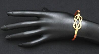 【ジュエリー】HERMESエルメスアタメブレスレット革レザーブラウン茶ゴールド金具【中古】【k】