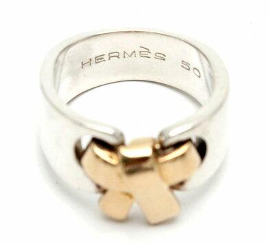 【ジュエリー】HERMESエルメスリボンデザインリング10号#50指輪K18ゴールドSV925シルバー【中古】【k】
