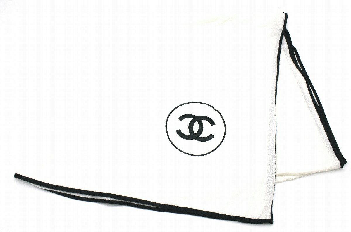 【アパレル】CHANEL シャネル ココマーク ストール ショール カシミヤ70% シルク30% アイボリー ブラック 黒 【中古】【k】