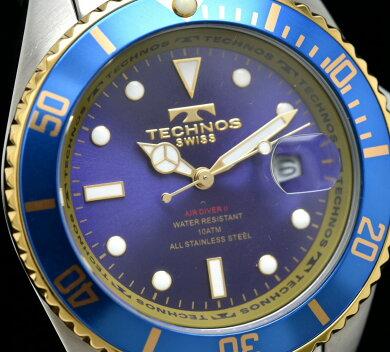 【ウォッチ】TECHNOSテクノスデイトブルー文字盤コンビSSゴールドメッキGPメンズQZクォーツ腕時計【中古】【k】