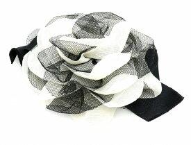 CHANEL シャネル カメリア コサージュ リボン ピンブローチ 白 ホワイト 黒 ブラック 【中古】【k】