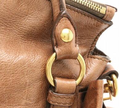 【バッグ】MiuMiuミュウミュウ2WAYハンドバッグショルダーバッグ斜め掛けリボンレザーブラウン茶ゴールド金具【中古】【k】