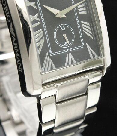 【ウォッチ】EMPORIOARMANIエンポリオアルマーニスモールセコンドブラック文字盤SSクォーツメンズ腕時計AR-1608AR1608【中古】【k】