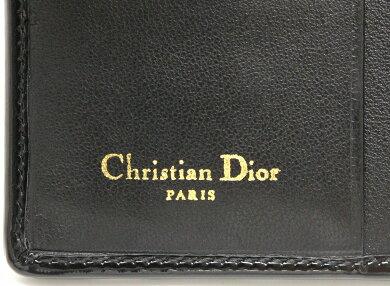 【財布】ChristianDiorクリスチャンディオールレディディオール2つ折財布パテントレザー黒ブラック【中古】【k】
