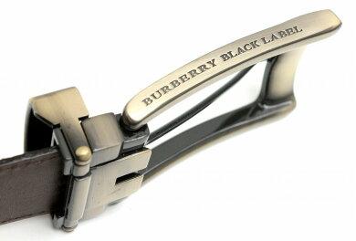 【新品未使用品】BURBERRYバーバリーブラックレーベルメンズベルトダークブラウン型押しレザー108cm35mmBKT37-300-58【k】