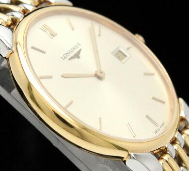【ウォッチ】LONGINESロンジングランドクラシックデイトゴールド文字盤SSGPコンビメンズQZクォーツ腕時計L5.632.3【中古】【k】