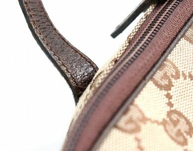 【バッグ】GUCCIグッチGGキャンバスバニティバッグハンドバッグ化粧ポーチコスメポーチコスメバッグカーキベージュダークブラウン茶124540【中古】【k】