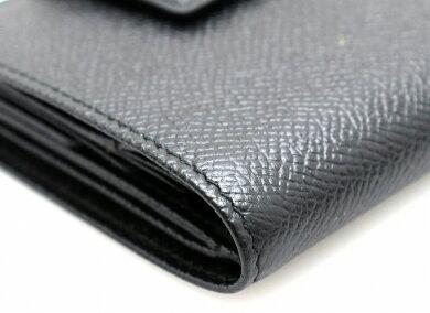 【未使用品】【財布】BVLGARIブルガリクラシコグレインレザー型押しレザーWホックダブルホック2つ折財布黒ブラック20409【中古】【u】